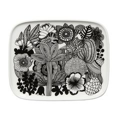 Made of white stoneware, this small rectangular plate depicts healthy flowers in bloom. It's dishwasher, microwave, and freezer safe; glazed colors and pattern remain vibrant. We can supply all products from Marimekko Modern Dinnerware, Dinnerware Sets, Side Plates, Small Plates, Summer Flowers, Blooming Flowers, Four Micro Onde, Decoration Inspiration, Decor Ideas
