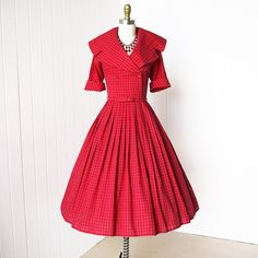 vintage 1950's dress ...classic CHERRY GINGHAM red and by traven7, $170.00