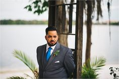 groom seeing his husband for the first time down the aisle Paradise Cove Orlando