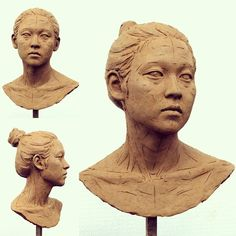 Sculpture Head, 3d Figures, Clay Faces, Female Portrait, Clay Art, Female Characters, Glass Jars, Sculpting, Pottery