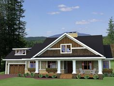 House Plan 42619 | Craftsman Traditional Plan with 1999 Sq. Ft., 3 Bedrooms, 3 Bathrooms, 2 Car Garage