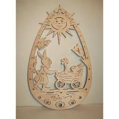 Vorlage für Fensterbild Osterei Frau Hase mit Kind Scroll Saw, Metal Art, Holiday Crafts, Snowflakes, Diy, Xmas, Woodworking, Clock, Easter