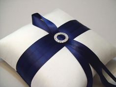 Navy Blue and Ivory Silk Ring Bearer
