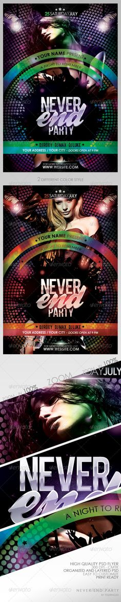 Never End Party Flyer Template / $6. *** This flyer is perfect for the promotion of Club Parties, Shows, Events, Festivals, Musicals, Concerts or Whatever You Want!. ***