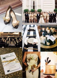 White and Gold Wedding. festive finds by Event Finds: Black & Gold Wedding Inspiration Great Gatsby Wedding, Gold Wedding Theme, Black Tie Wedding, Wedding Themes, Wedding Colors, Our Wedding, Dream Wedding, Wedding Decorations, Wedding Ideas