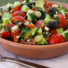 Chopped Tomato and Cucumber Salad Recipe with Mint, Feta, Lemon, and Thyme Recipe | Yummly