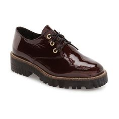 Women's Shelly's London 'Terrwyn' Platform Oxford ($119) ❤ liked on Polyvore featuring shoes, oxfords, oxford shoes, patent shoes, platform shoes, chunky shoes and shiny patent leather shoes
