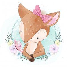 Carinha bonitinha com flor Vetor Premium Baby Animal Drawings, Cute Drawings, Drawing Sketches, Cute Animal Illustration, Fantasy Illustration, Digital Illustration, Baby Animals, Cute Animals, Watercolor Animals