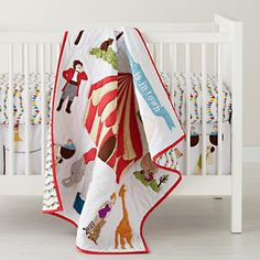 I know I don't have a baby, but this circus themed crib bedding is fantastic!