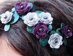 Purple flower headband leather lavender amethyst roses green leaves metal hairband, floral bridal tiara woodland wedding. $48.00, via Etsy.