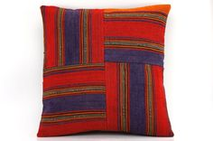 16x16 Vintage Hand Woven Kilim Pillow  445 blue red by GalenUnique, $29.00
