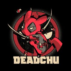 Deadchu is sold by Pampling for plus shipping. Day of the Shirt collects daily and weekly t-shirt sales from across the Internet and aggregates them all in one place. Cute Deadpool, Deadpool Pikachu, Deadpool Art, Deadpool And Spiderman, Pikachu Art, Deadpool Kawaii, Deadpool Tattoo, Deadpool Quotes, Deadpool Costume