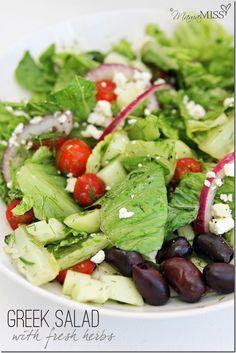 Greek Salad with fresh herbs | Mama Miss