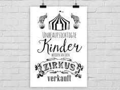 Originaldruck - Druck UNBEAUFSICHTIGTE KINDER - ein Designerstück von PrintsEisenherz bei DaWanda