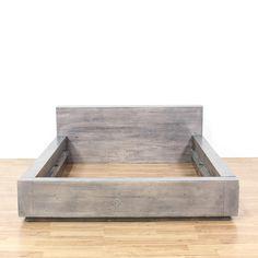 Cal King Designer Gray Painted Platform Bed | Loveseat Vintage Furniture San Diego & Los Angeles
