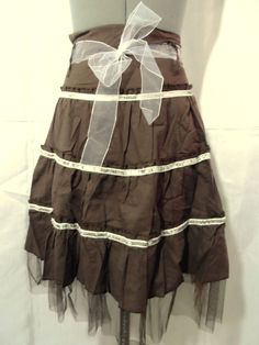 NEW MOINE Tulle Sequin Tiered Skirt juniors S,L Brown A-line w/ bow Recital in Clothing, Shoes & Accessories, Women's Clothing, Skirts   eBay
