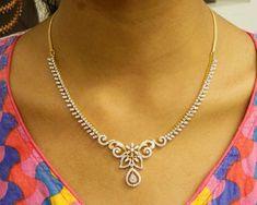 Necklaces Simple Diamond Necklaces / Chokers - Diamond Jewelry Diamond Necklaces / Chokers at USD Diamond Necklace Simple, Circle Pendant Necklace, Diamond Jewelry, Gold Jewelry, Jewellery, Jewelry Gifts, Jewelry Necklaces, Quartz Jewelry, Gold Earrings Designs