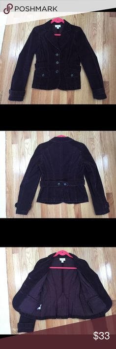 """Ann Taylor Loft-Dark Purple Blazer/Jacket, Sz 2 Ann Taylor LOFT – Dark Purple Stretch Corduroy Blazer/Jacket   This blazer/jacket is in great condition without stains, marks, holes, rips or defects. It was worn twice, almost brand new condition. It was washed. Please see attached pictures.   -size: 2 (~17.5"""" from pit to pit; ~13"""" from under armpit to hem) -color: dark purple -98% Cotton, 2% Spandex - Button front - Front pockets - Belted back waist trim - Dark gray metal hardware -Long…"""