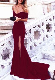 Simple Slit Prom Dress,Burgundy Evening Dress,Mermaid Slit Party Dress,Mermaid Off Shoulder Sleeves Graduation Dress