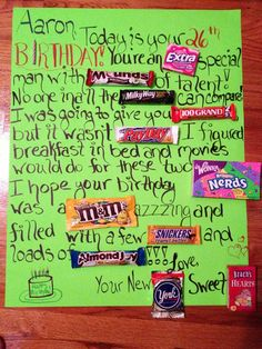 Candy bar birthday card