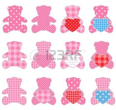 Twelve pink teddy bears with hearts. Nice elements for scrapbooking, greeting cards, Valentine's cards etc.