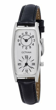 Gotham Women's Silver-Tone Dual Time Zone Leather Strap Watch # GWC15092SB Gotham. $49.95