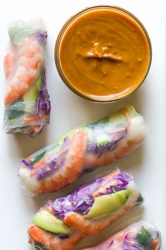 Shrimp Summer Rolls with Peanut Hoisin Dipping Sauce | Skinnytaste.com | Bloglovin'