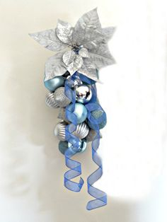 Christmas Decoration Blue and SIlver Ornament by ArtProlific, $25.00