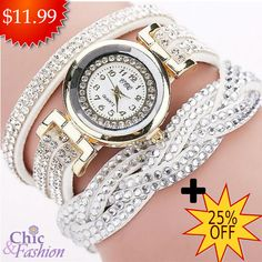Fashion Women Watch Bracelet Perfect for You! 💎  Free Shipping + 25%Off Shop here 👉https://chicandfashionstore.com/collections/watches/products/new-fashion-women-rhinestone-watch-braided-leather-bracelet?utm_content=buffer3198d&utm_medium=social&utm_source=pinterest.com&utm_campaign=buffer  #Fashion #Bracelet #Watch #Trend
