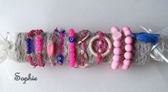handmade bracelets for pink armparty χειροποίητα βραχιόλια ελαστικά ή μακραμέ  https://www.facebook.com/Sophies-world-712091558842001/