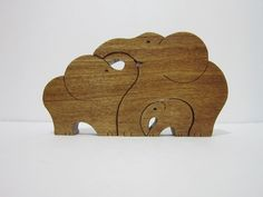 Wood Toy Elephant Family Puzzle Poplar by crochetrendezvous