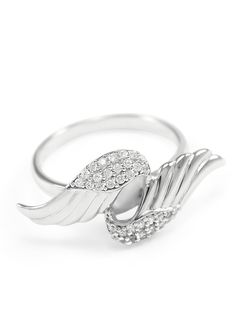 An elegant sterling silver Angel Ring with simulated diamonds made by The Collegiate Standard. - #angelring