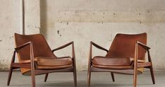 #TODesign - Pair Of 2 'seal' Lounge Chairs By Ib Kofod Larsen In Original Cognac Leather via Caroline - http://ift.tt/1ErIZRm