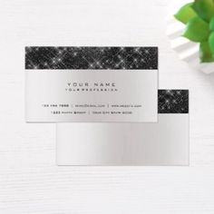 Minimal Shimmer Sparkly Black Gray Silver Urban Business Card - light gifts template style unique special diy