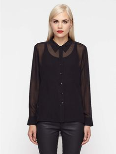 EF: Classic Collar Shirt in Sheer Silk Georgette