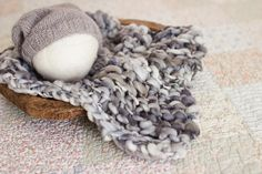 Wool Layer Grey Wool Layer Blue Mini Blanket Newborn Basket