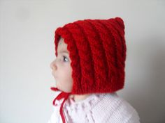 Red Hooded Girl Knitted Baby HatRed HatChunky by SmilingKnitting, $24.00