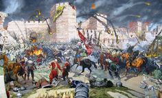 Fall of Constantinople, definite end of (East) Roman Empire Military Art, Military History, Siege Of Constantinople, Turkish Army, Byzantine Art, Islam, Ottoman Empire, Dark Ages, Historical Pictures