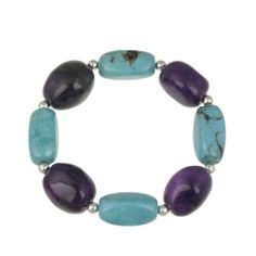 """Sterling Silver Bead, Turquoise and Amethyst Nugget Stretch Bracelet, 7.5"""" Amazon Curated Collection. $24.00. Gemstones may have been treated to improve their appearance or durability and may require special care. The natural properties and composition of mined gemstones define the unique beauty of each piece. The image may show slight differences to the actual stone in color and texture. clean with a damp cloth"""