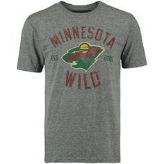 Men's Minnesota Wild Rinkside Gray Heritage Tri-Blend T-Shirt