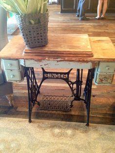DIY desk idea -- old singer sewing station