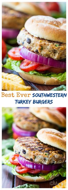 These easy Southwestern Turkey Burgers are filled with wholesome ingredients like lean ground turkey, sweet bell peppers, cilantro and jalepeños to give them a little kick. They are the most requested burger in our house!