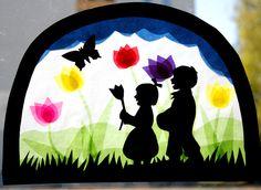 """Fensterbild+""""Frühlingsspaziergang""""++von+Waschbär+auf+DaWanda.com"""