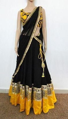 Varuna jithesh black-yellow velvet lehanga