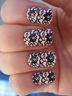 "Love the lace nails.... Black ""lace"" over light pink"