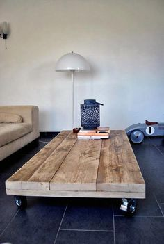 Wood Board Diy Coffee Table Furniture Man Cave Idea