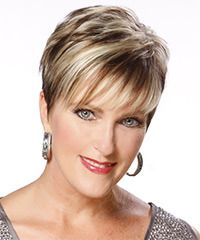 Formal Short Straight Hairstyle.The back and sides of this short hairstyle is tapered into the head with wispy bangs cut to frame the front of the face for a textured look and feel. This hairdo is great for those with fine to medium hair wanting a style with shape that's easy to maintain with regular trims and a little product.
