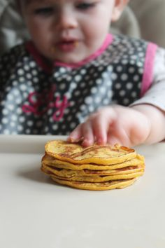 "Pumpkin pancakes for babies. These ""pancakes"" are flour- & sugar-free, consisting solely of bananas, pumpkin puree, eggs, & baking powder."
