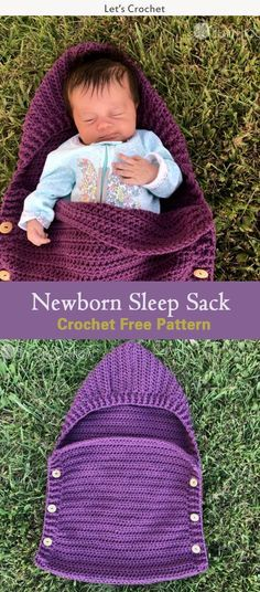 Newborn Sleep Sack Crochet Free Pattern #freecrochetpatterns