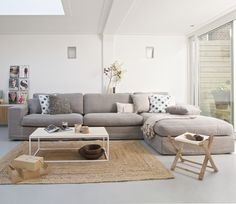 Modern living room with natural shades http://www.basiclabel.nl